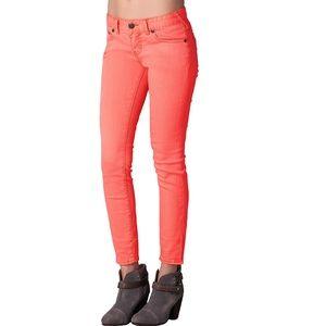 Free People Skinny Denim Jeans Coral Salmon